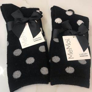 MeMOI CASHMERE BLEND SOCK SET (2 PAIRS) NEW
